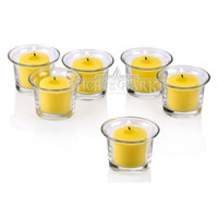 Light In The Dark Clear Glass Lip Votive Candle Holders With Citronella Yellow votive candles Set of 72