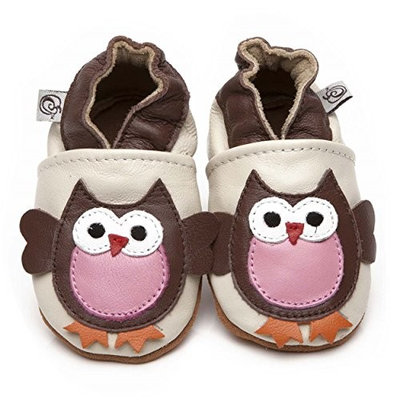 Soft Leather Baby Shoes Owl 6-12 months