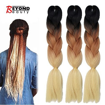 Synthetic Yaki Straight Ombre Jumbo Braiding Hair Extensions High Temperature Fiber Crochet Braids Hairstyles