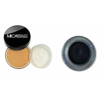 (Bundle of 2 Items) Mica Beauty Mineral Foundation Powder 9 Grams+ Gel Eyeliner in Black Diamond (MF5-CAPPUCCINO)