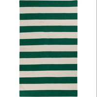 5' x 8' Accumbent Striped Green and Ivory Reversible Woven Wool Area Throw Rug