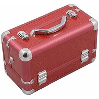 Hiker HK3101CRRD 3-Tier Professional Aluminum Case with Extendable Trays and Brush Holder, 15-Inch, Crocodile Texture Printing, Red