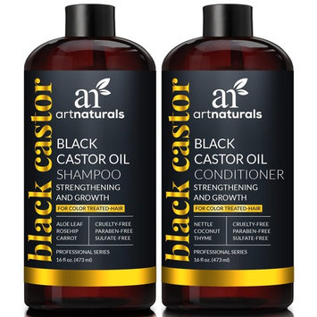 ArtNaturals Black Castor-Oil Shampoo and Conditioner – (2 x 16 Fl Oz/473ml) – Strengthen, Grow and Restore – Jamaican Castor – For Color Treated Hair