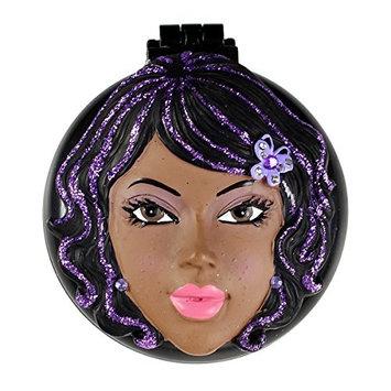 Tara Compact Mirror with Popup Brush African American Girl