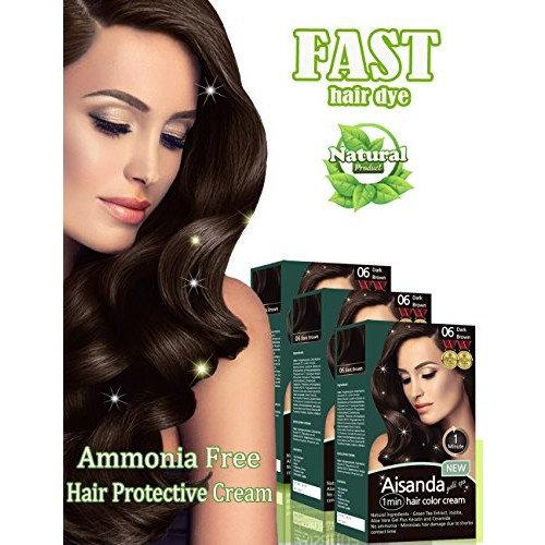 Dark Brown Hair Color Natural Hair Dye for Women & Men,Semi-Permanent, Full Gray Coverage,Ammonia Free,Long Lasting,Aisanda Gold Spa 1min Hair Color Cream (Dark brown 4.8OZ,Pack of 3)