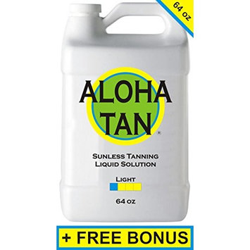 ALOHA TAN - LIGHT - 64 oz - Spray Tan Liquid Solution + FREE: Sunless Self Spray Tanning Mitt, Gloves & Best Sunless Self Tanning Lotion Tanner/Best Sunless Self Spray Tanner Liquid Solution