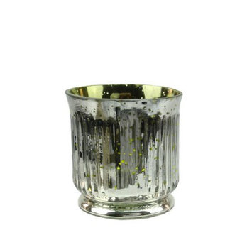 Northlight Set of 4 Lime Green and Silver Ribbed Mercury Glass Decorative Votive Candle Holders 3.25
