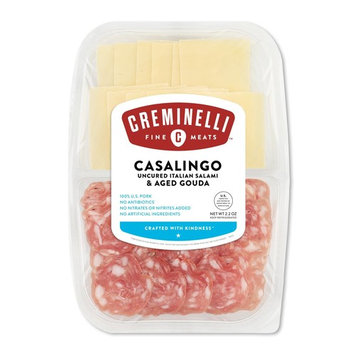 Creminelli - Italian Artisan Handcrafted Fine Meats, Sliced Casalingo Salami with Aged Gouda Cheese, 2.2 Ounce [Casalingo w/ Gouda]
