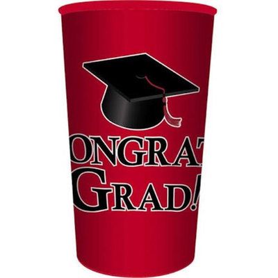 Hoffmaster Group 014393 20 by 1 Count Red Graduation 22 oz Printed Plastic Cups - Case of 20