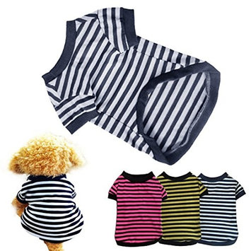 HP95 Dog Shirt, (TM) 2015 Fashion Summer Pet Dog Classic Wide Stripes T-Shirt, Doggy Clothes Cotton Shirts (Yellow, L)