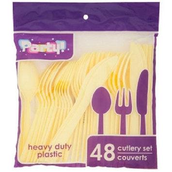 YELLOW Plastic Utensils, 48-ct. Packs (16 Forks, 16 Spoons & 16 Knives) (Yellow, Plastic Utensils 48 Ct. Packs)