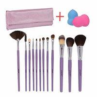 Essencell 12 Pieces Makeup Brush Set, Light Purple with Makeup Blender Sponge and Travel Essentials Case