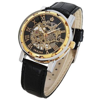 Classic Skeleton Unisex Mechanical Hand-wind Wrist Watch Steampunk Style