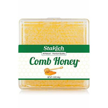Stakich 12-OZ COMB HONEY - Case of 24 - 100% Pure, Unprocessed, Unheated, KOSHER -