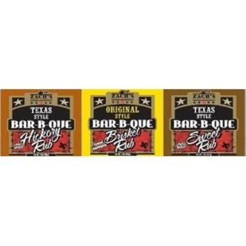 Zach's Rub 11.5oz Bottle (Pack of 3) (Sampler Pack - 1 Each of Brisket, Hickory & Sweet Rubs)