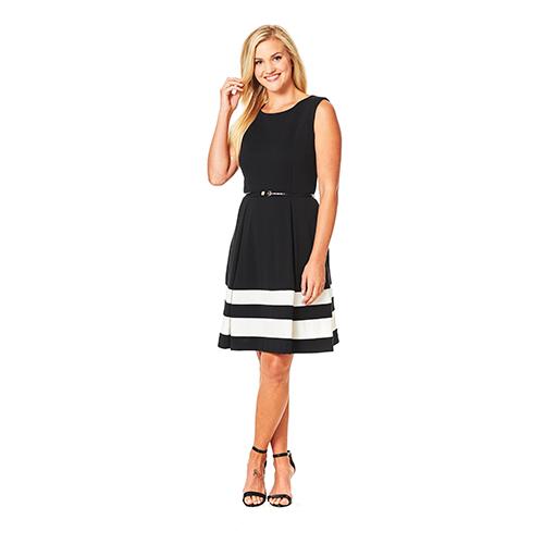 Calvin Klein Sleeveless Belted Stripe Dress