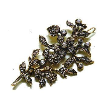 Yours & Beautiful Women's Leaves Design Gold Color Rhinestone Hair Barrette