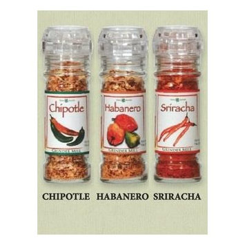 The Gourmet Grinder Collection - Hot Pepper Seasonings Selection; Chipotle / Habanero / Sriracha; Grind It Fresh for More Flavor and Aroma; The Secret of Gourmet Chefs Around the World!