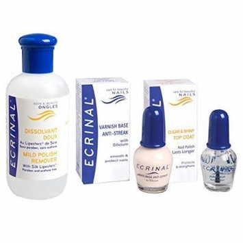 Bundle of 3 items: Ecrinal Base Coat 10 ml, Top Coat 10ml, and Mild Polish Remover 4.2 oz