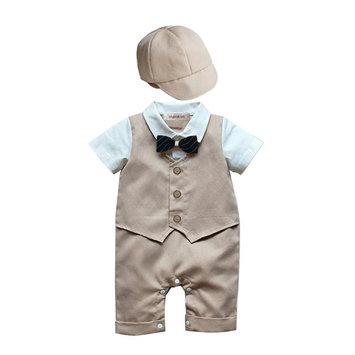 StylesILove Baby Boy Formal Wear Romper and Hat 2-piece (6-12 Months, Khaki) [baby_clothing_size: baby_clothing_size-6-12months]