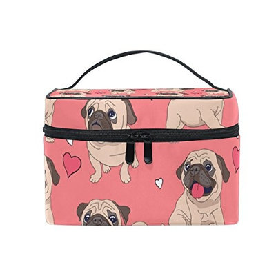 Cosmetic Bags Cute Pug Dog Love Heart Dark Pink PU Leather Makeup Organizer for Women Teen Girls
