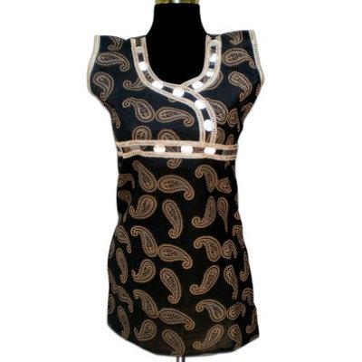 Royal Kraft Handmade Block Printed Women Cotton Top With Paper Mior & Lace (Free Shipping) LLtop0146