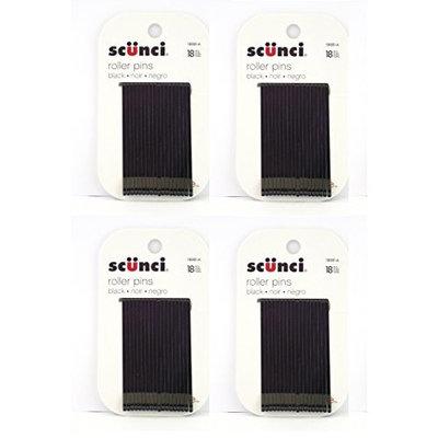 Scunci Black Roller Pins, 18 Pcs (4 Pack) + FREE LA Cross Tweezers 71817