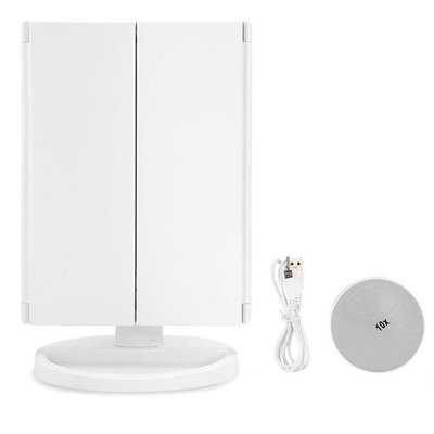Estink Trifold 22 LED Makeup Mirror with 2x 3x Magnification Touch Screen and 180 Degree Rotation Stand for Bedroom Table Desk(White)