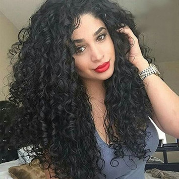 Asifen Swiss Lace Front Wig Jet Black 24 Inch Afro Kinky Long Curly Hair Synthetic Full Wigs for Black Women