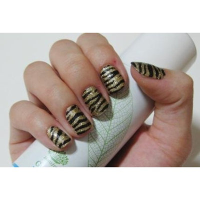 [ANG Nail] 3D Nail Polish Film for Finger and Toe Nails - Gold Zebra (Speacial Promotion-FREE GIFT!) : Beauty