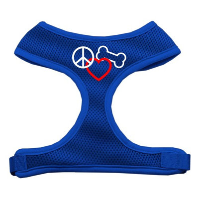 Mirage Pet Products 7017 SMBL Peace#44; Love#44; Bone Design Soft Mesh Harnesses Blue Small