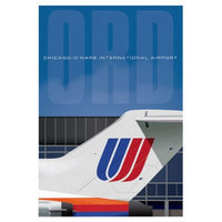 Jetage Aviation Art JA027 14 x 20 in. Ord Airport United Tail Poster
