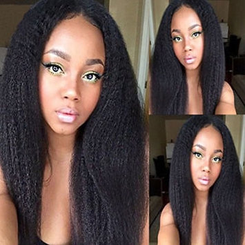 PlatinumHair #1B YaKi Silky Straight Wigs Synthetic Lace Front Wigs Heat Resistant Glueless for Women Synthetic Wigs 18