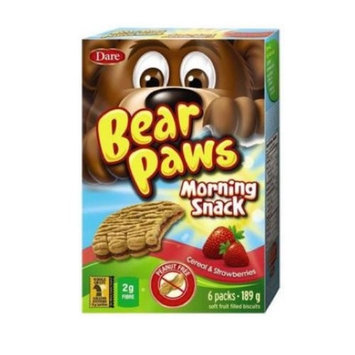 Dare Bear Paws Morning Snack Cereal & Fruit Filled Cookies 189g - Peanut Free - (Imported from Canada)
