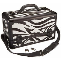 Hiker HK3101ZBWB 3-Tier Professional Aluminum Case with Extendable Trays and Brush Holder, 15-Inch, Zebra Texture Printing