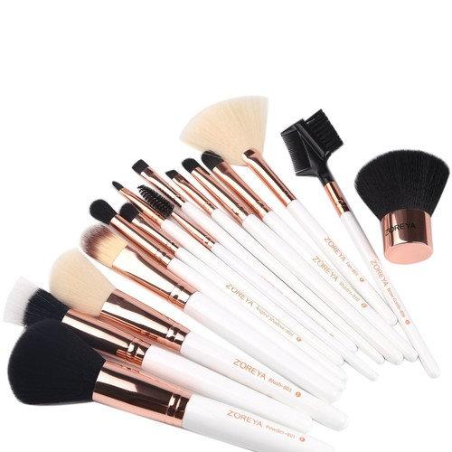 ZOREYA Makeup Brushes Premium High- End15pc Rose Gold Make Up Brushes Set With Professional Easy Travel Vegan Leather Makeup Brush Set Case Bag...