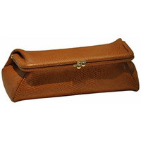 Budd Leather Framed Lizard Calf Cosmetic Case, Tan
