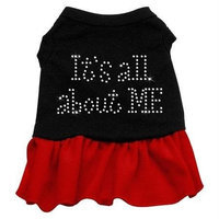 Mirage Pet Products 5707 XSBKRD Rhinestone All About me Dress Black with Red XS 8