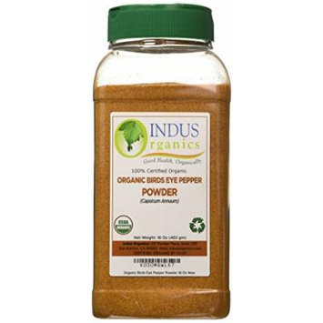 Indus Organics Bird's Eye Pepper Powder, 1 Lb Jar, Steam Sterilized, Premium Grade, High Purity, Freshly Packed
