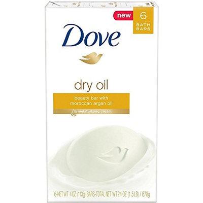 Dove Beauty Bar, Dry Oil, 4 oz bars, 6 ea (5 Pack)