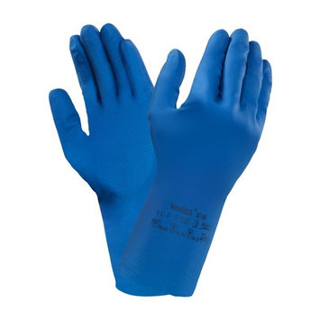 Ansell VersaTouch 87-195 Natural rubber latex gloves, chemical & liquid protection, Blue, Size 6.5-7 (Pack of 12 pairs)