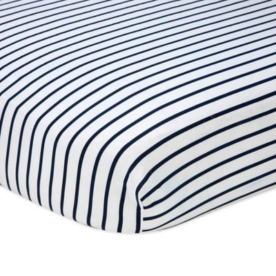 Nautica Kids Mix & Match Striped Fitted Crib Sheet in Navy/White
