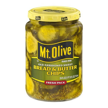 Mt. Olive Bread & Butter Chips Old-Fashioned Sweet, 24.0 FL OZ Jars (Pack of 2, Total of 48 Oz)