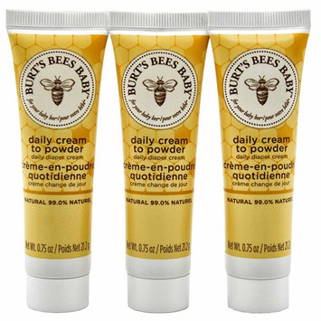 Diaper Cream Daily Cream to Powder- Burt's Bees Baby, 0.75oz Tube (Pack of 3, Total of 2.25 Oz)