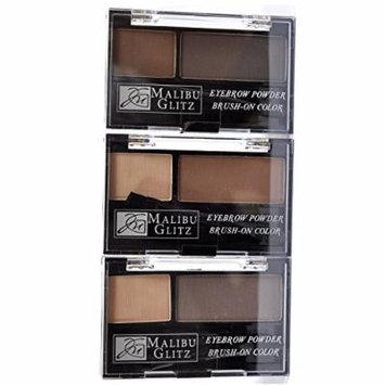 Malibu Glitz Eyebrow Powder Kit Brush On 3 Colors 6 Pcs