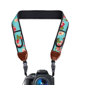 Accessory Power TrueSHOT Camera Strap with Blue Floral Neoprene Design and Accessory Storage Pockets by USA Gear