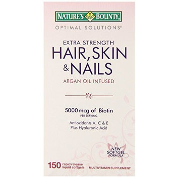 Nature's Bounty Extra Strength Hair Skin Nails, 5000mcg of Biotin, 150 Count (Pack of 2)