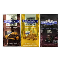 Ghirardelli Chocolate Squares 3 Flavor Variety Bundle, (1) each: Dark & Caramel, Milk & Caramel, Intense Dark Twilight Delight 72% Cacao