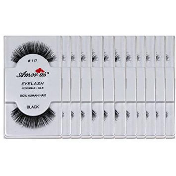 Amorus 100% Human Hair False Eyelashes #117 (12 Pack) Compare Red Cherry