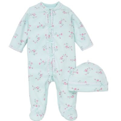 Little Me Baby Girls' 2-Piece Floral Spray Hat & Footed Coverall Set